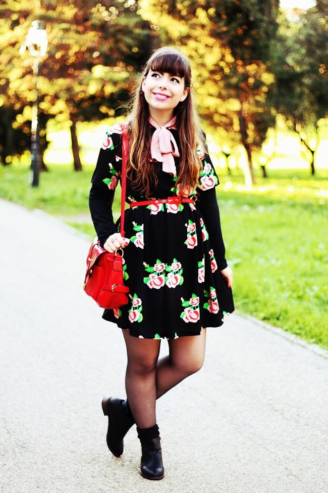 """Drawing Dreaming: """"Smells like Roses"""" > Outfit - Black floral smock dress; pink bow blouse; red camera bag; red belt; black zipper boots; beige leather sleeves trench coat"""