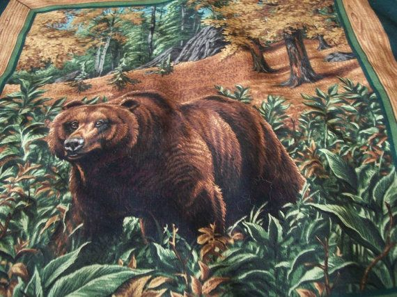 Handmade Cotton Pillow Cover Grizzly Bear 16 x 16 by naturepoet