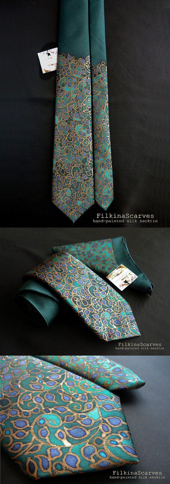 Mens tie Silk Necktie Hand Painted Peacock Mens Neckties Green