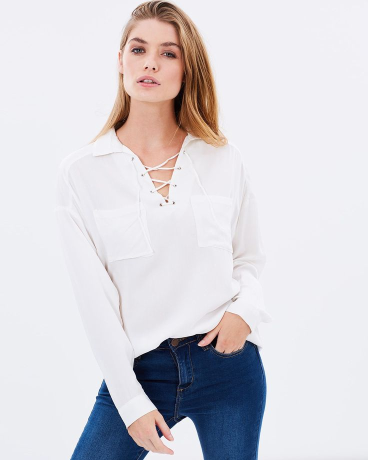 LULU AND ROSE - Delancey Lace Up Shirt | White