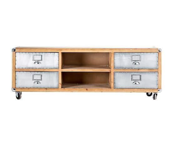 mueble tv de madera y aluminio largo 170 cm alto 50 cm