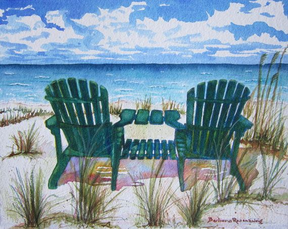 Adirondack Chairs Ocean Beach View by contemporary watercolorist Barbara Rosenzweig