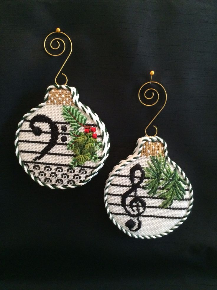 Loved finishing these musical note ornaments ~ needlepoint canvases by WhimsyGrace - Crafting Style