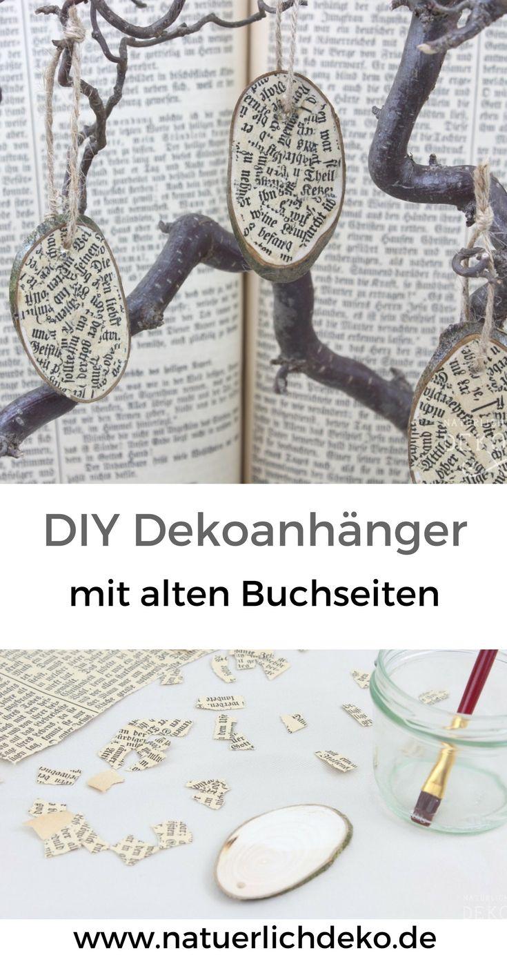 Dekoanhanger Aus Holz Mit Alten Buchseiten Bekleben Basteln Musik