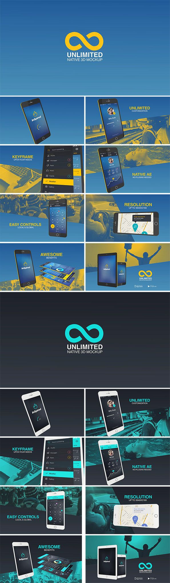 Unlimited Native 3D Mockup is a Super Customizable Application Kit for your Application Promo/Presentation/Explainer. No Plugins & no Prerenders!         Features: Native 3D Smartphone & Tablet On...