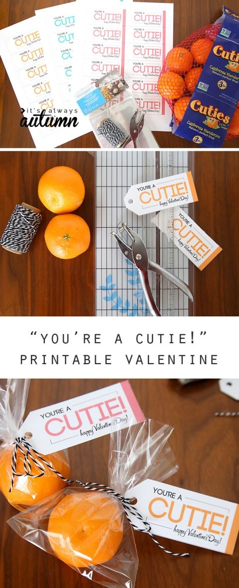 "Great healthy option for a Valentine's Day treat! Free printable ""you're a cutie"" Valentines are an easy candy free alternative kids will love."