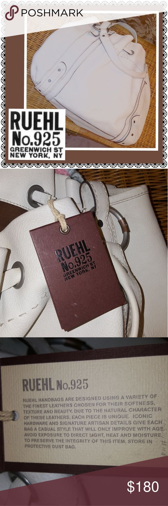 "Ruehl No.925 bag from Abercrombie and Fitch, NWT Off white, beautifully and purposely  distressed, sturdy yet supple leather handbag, excellent craftsmanship, brand new with tags by Ruehl No.925 from Abercrombie and Fitch. (Any ""imperfections"" as shown in the pics are part of the design, not signs of wear.) Ruehl No.925 Bags"