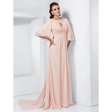 A-line Jewel Sweep/Brush Train Chiffon Evening/Prom Dress inspired by Melissa McCarthy – USD $ 117.99