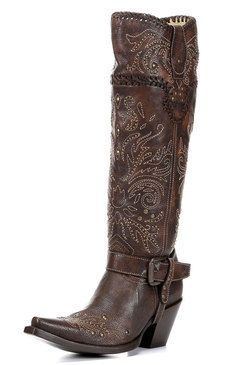 Corral Women's Whip Stitch & Studs Tall Top Cowgirl Boots