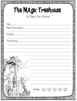 FREE: The Magic Treehouse Book Reports- 3 Versions