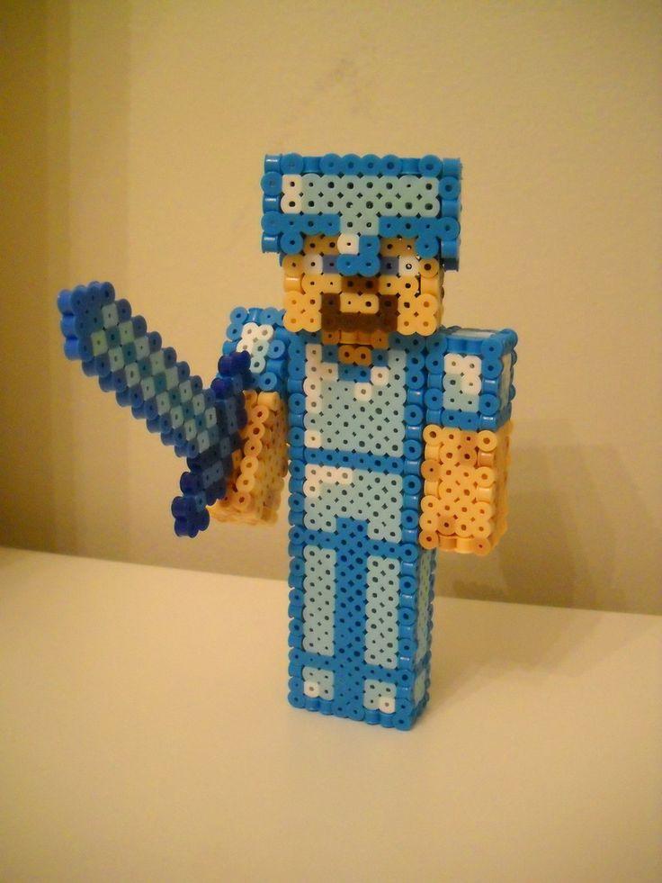 3D Minecraft Diamond Armor Steve perler beads by RetroNinNin on deviantART