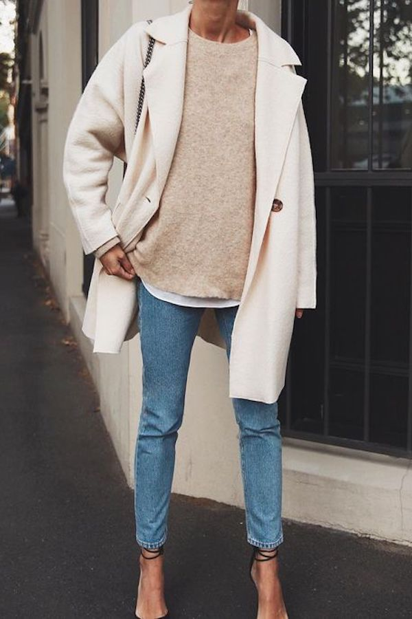 Simple everyday denim outfit. Blue jeans with beige pullover and beige coat #jean …   – style