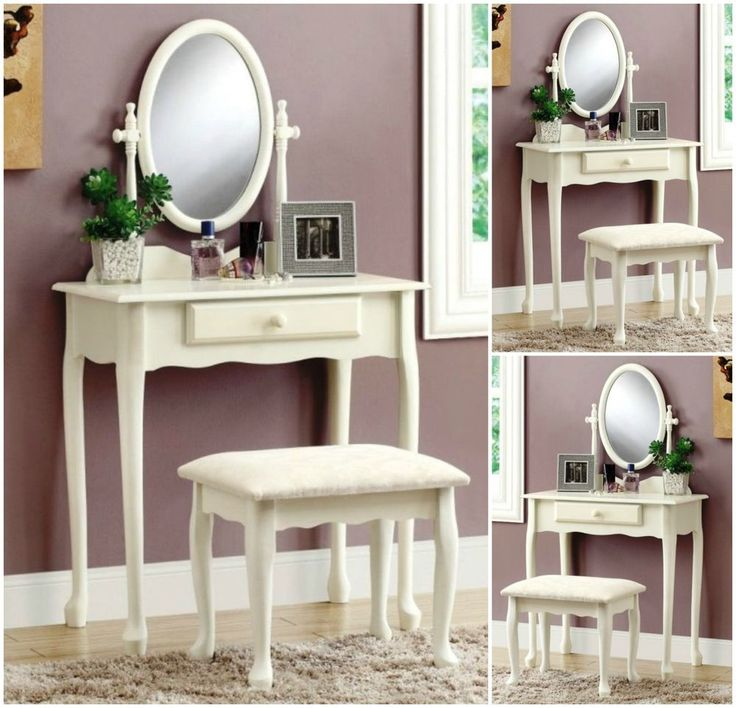 Bedroom Vanity Set Wood Table Stool Bench Console Desk Storage Makeup Dressing #Monarch #Traditional