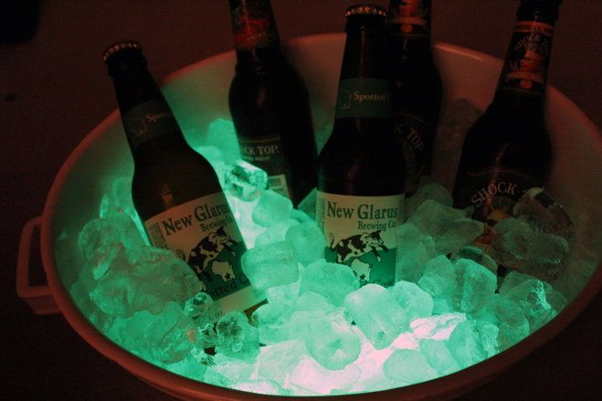 Glow sticks in a cooler or ice bucket for freaky Halloween fun + more Halloween party ideas and DIY projects