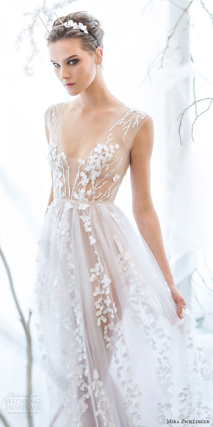 mira zwillinger bridal 2017 sleeveless vneck illusion bodice aline wedding dress (calla) mv