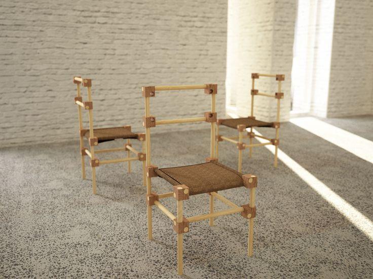 Sedia Dadi e Bastoni progetto in collaborazione con Arch. Simone Farinazzo prodotto da Brighenti F.lli