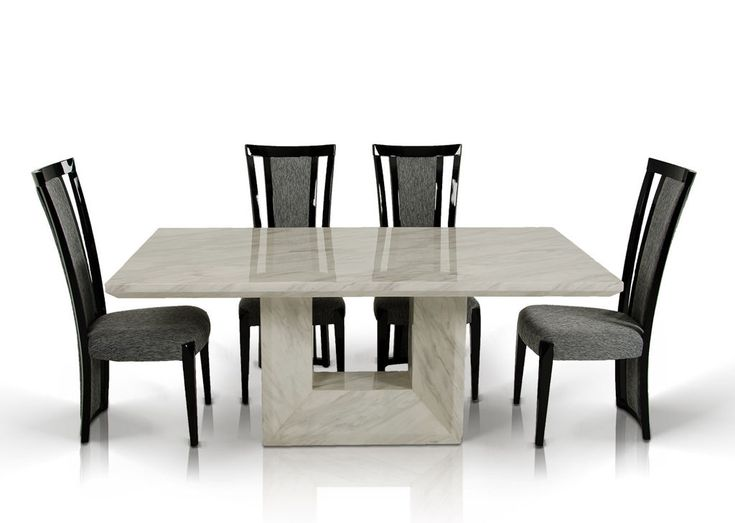 Furniture:Fancy Rectangle Low Height Marble Dining Table With High Backrest  Black Chair In Set