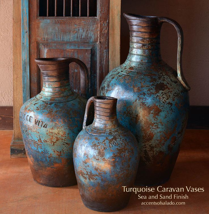 Rustic Turquoise Pottery. Find it ONLINE Accents of Salado.