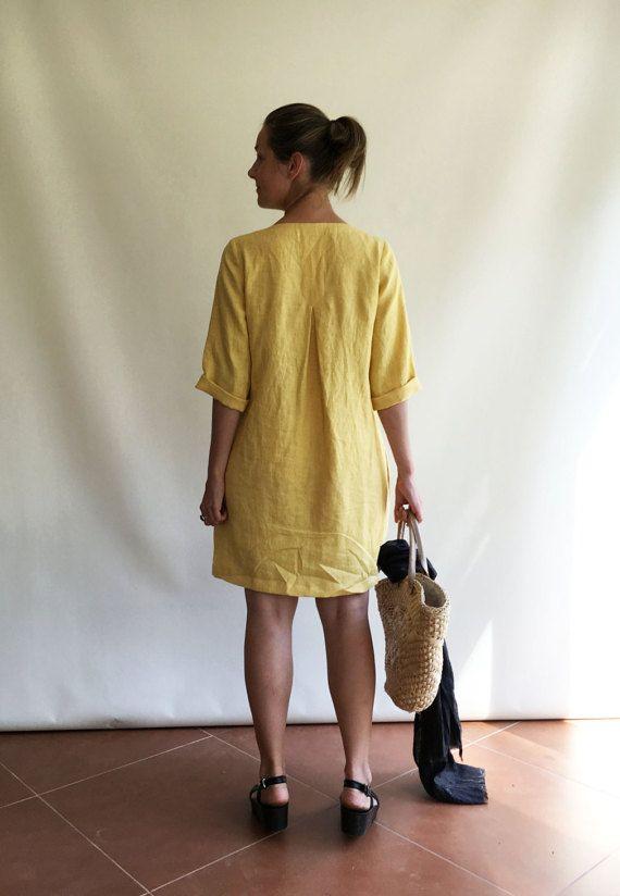 Tunica di lino Plus tunica di dimensione abito in lino per