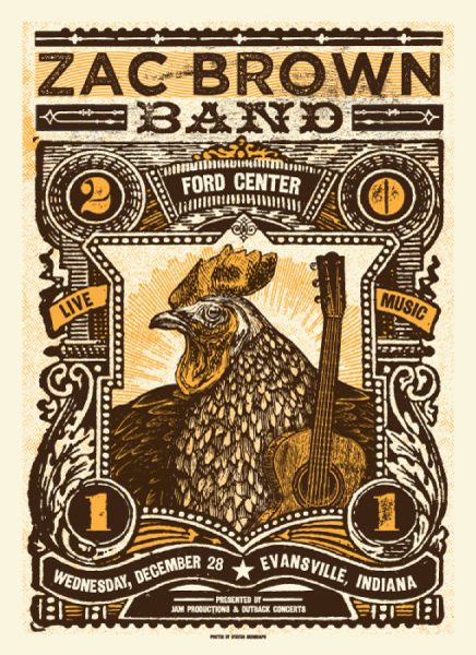 Zac Brown Band Gig Poster, love that rooster