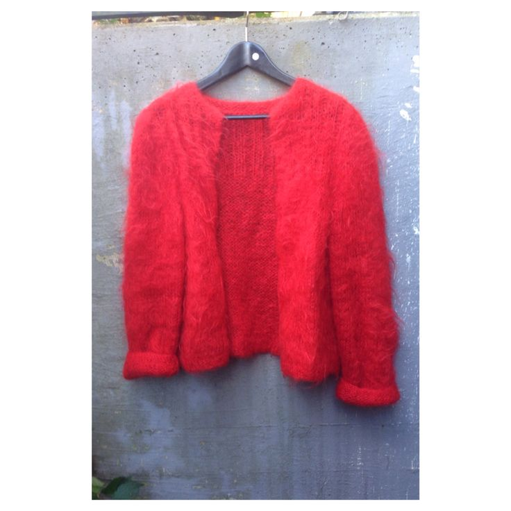 lovely red cardigan..