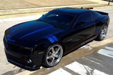 2010 to 2014 Camaro Hash Mark Stripes and Hood Spears from Big Worm Graphix- Metallic blue pictured
