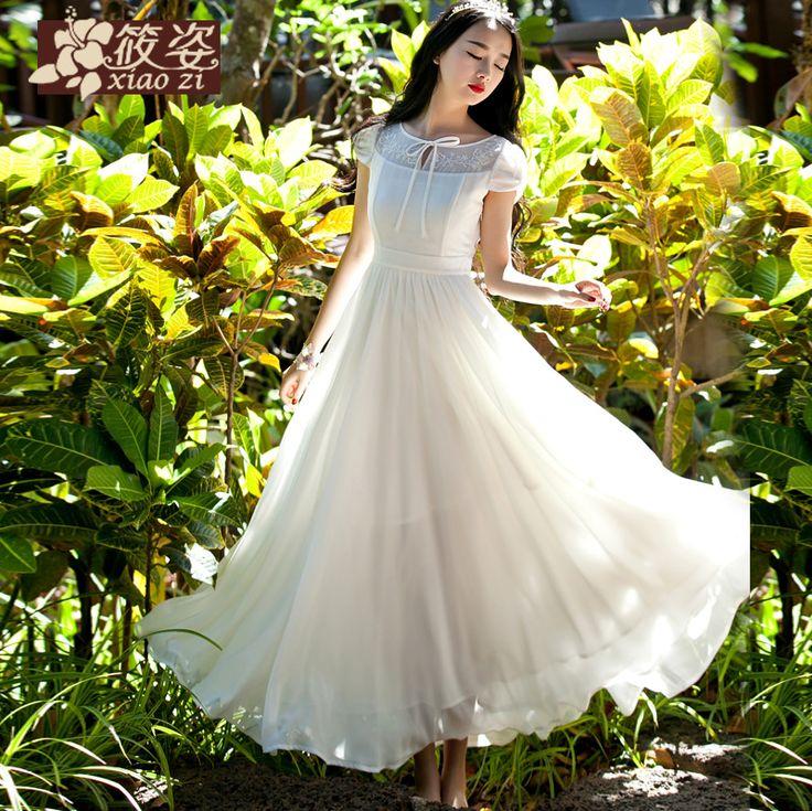 Xiao Zi rouă de primăvară 2015 rochie nouă sifon brodate fusta tifon Slim a fost subțire rochie
