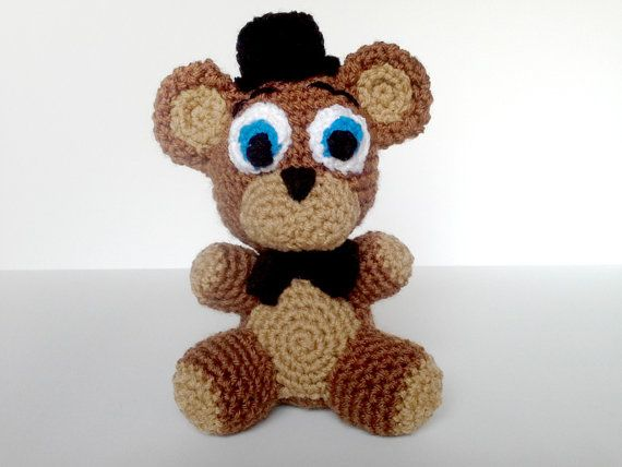Freddy Fazbear Plushie - I love to crochet. So, as homage to the game Five Nights at Freddy's, I decided to make one of these little guys. He measures about 8 inches tall. #fnaf