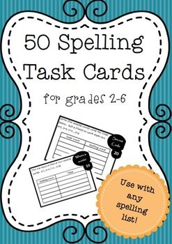 50 different spelling task cards that can be used with any spelling list by students in grades 2-6. Includes a checklist for students to keep track of which activities they have completed, a reminder for students to follow when trying to spell unfamiliar words, instructions for using this resource in the classroom and a homework handout with suggested activities for students to complete.