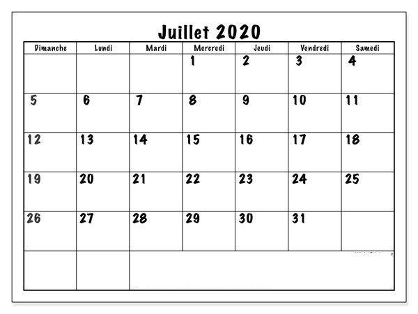 Calendrier Juillet 2020 À Imprimer PDF | nosuvia.in 2020