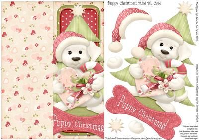 Puppy Christmas Mini DL Cut Fold Over The Edge Card on Craftsuprint - Add To Basket!
