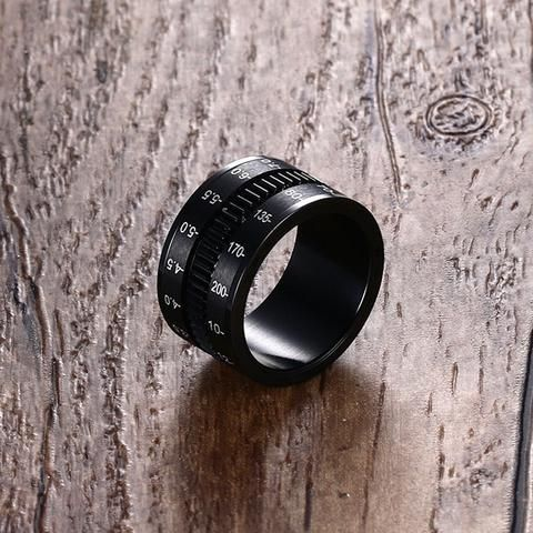 Unique Men's Rings Stainless Steel SLR Camera Lens Ring for Men