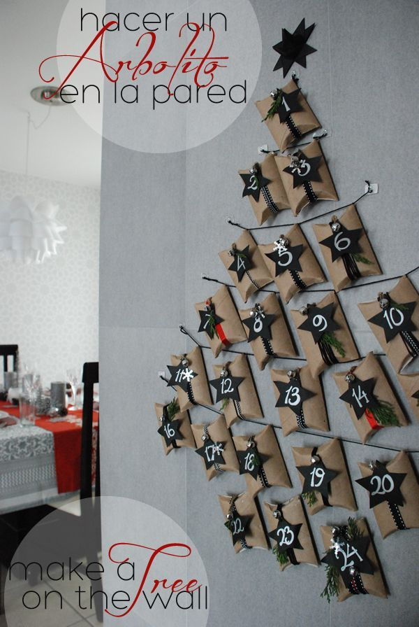 DIY advent calendar 5 ways: make a tree on the walls. Calendario de adviento diy | Casa Haus