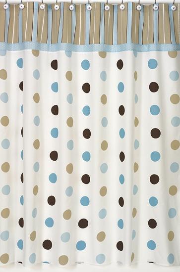 Mod Dots Blue Shower Curtains