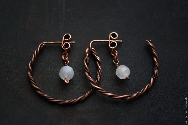 Купить Медные серьги-кольца - медные серьги, серьги-кольца, адуляр, серьги с лунным камнем