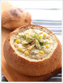 Hearty bread bowl crab chowder recipe