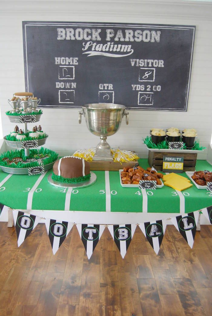 Football Frenzy themed birthday party via Kara's Party Ideas KarasPartyIdeas.com Printables, tutorials, banners, favors, food and more! #footballparty #football #footballcake #superbowlparty #footballpartyfood #sportsnight (9)