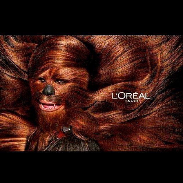 Lmao I cant.  #starwars #chewbacca #loreal #nerdhumor #humor #beautiful #beard #bearded