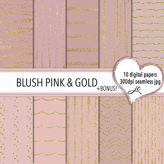 Blush Pink and Gold Digital Papers  BONUS Photoshop Pattern