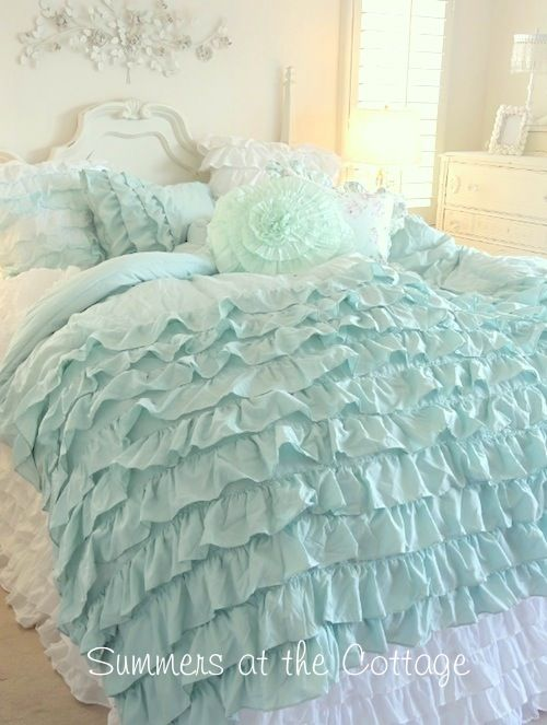 aqua and white ruffled bedding | SHABBY COTTAGE CHIC LAYERS OF DREAMY AQUA TEAL RUFFLES COMFORTER SET