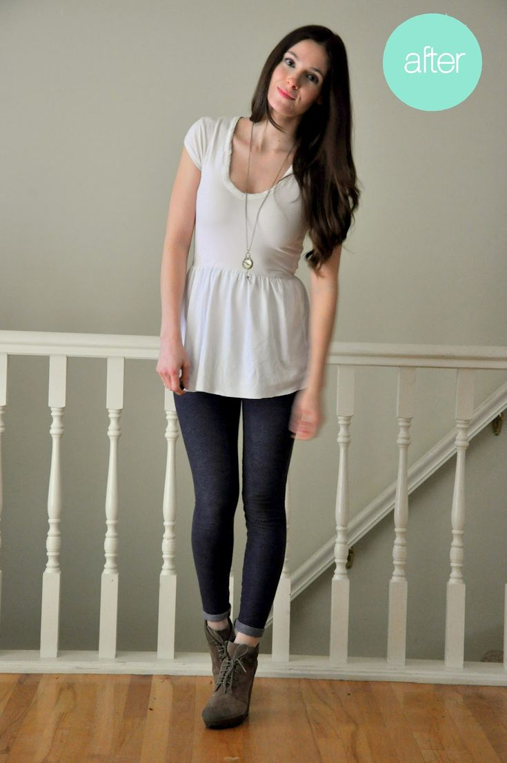 DIY: new life for the too-short t-shirt: Peplum Tops, New Life, Tights Shorts, Shorts Shirts, Shirts Refashion, Diy'S Clothing, T Shirts, Refashion Clothing, Fit February