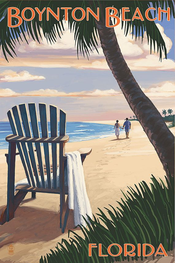 Boynton Beach, Florida - Adirondack Chair on the Beach (Art Prints available in multiple sizes)