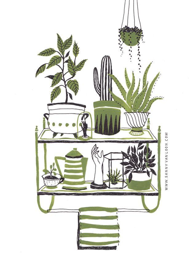 Illustration made by Sanny van Loon for Wildernis - www.wildernisamsterdam.nl | plants | gouache | shelves | interior