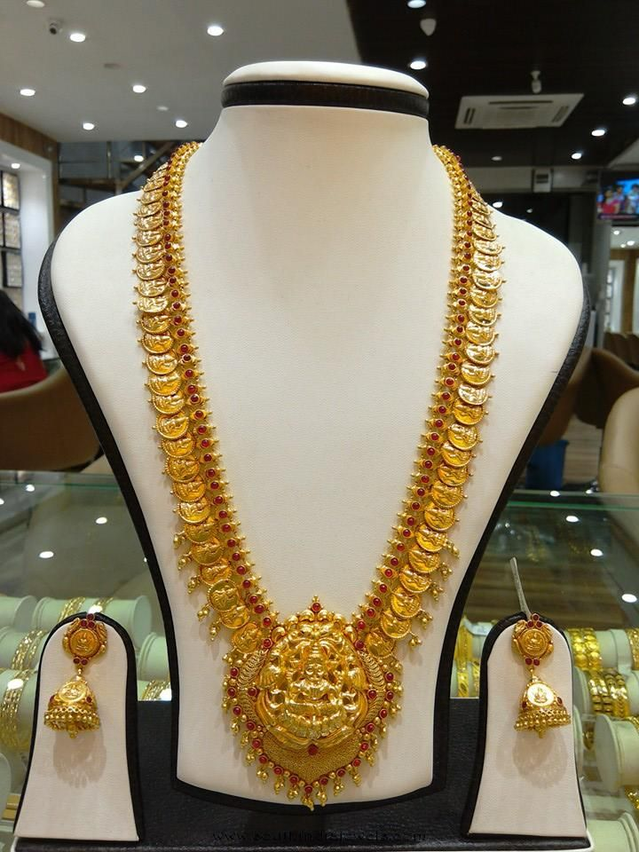 Gold Long Kasumalai necklace designs, Latest model gold coin necklace designs, Gold Temple Long Necklace Sets