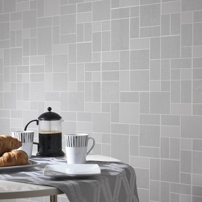 A beautiful tile effect wallpaper in grey perfect for a modern kitchen or bathroom. It features a subtle glitter effect that sparkles wonderfully without overpowering the design.  £12.99 per roll (10.05m x 53cm)