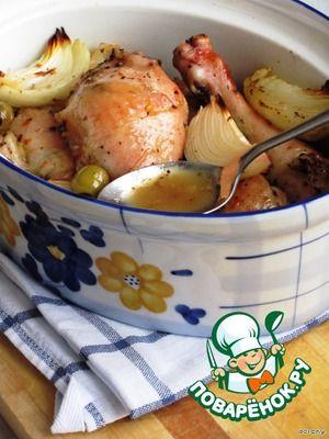 Жаркое из курицы с апельсином, медом и травами