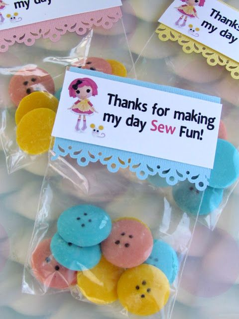 how to  make lalaloopsy party favor bags Chocolate buttons!  So easy and cute.