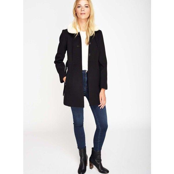 Miss Selfridge PETITE Black Fur Collar Coat ($135) ❤ liked on Polyvore featuring outerwear, coats, black, petite, petite coats, faux fur collar coats, miss selfridge and miss selfridge coats