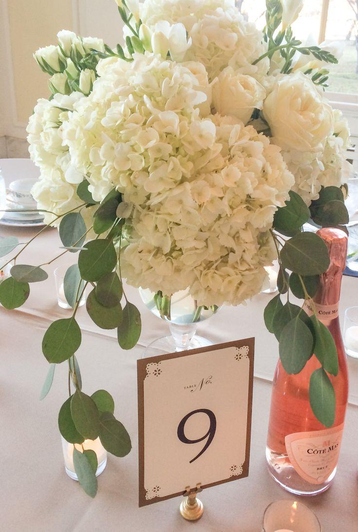 White Wedding Centerpiece Hydrangea Garden Rose Freesia