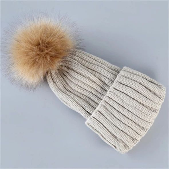 Winter Hats for Women Pom Pom Hat Ladies Warm Knitted Beanie Fashion Female Skullies Beanies Solid Cap Girls Cotton Knit Caps – Skullies & Beanies